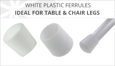 WHITE PLASTIC FERRULES FOR TABLE & CHAIR LEGS